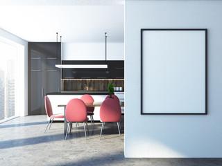 White and black kitchen, poster frame mock up