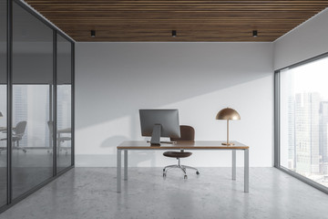 Panoramic manager office interior, cityscape