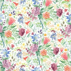 Seamless Watercolor background with floral patterns. Red tulips, chamomile, green leaves. Summer ornament. It can be used for wallpaper, printing on the packaging paper, textiles.