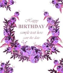 Vintage floral garland card . Birthday or wedding invitation with botanical decors