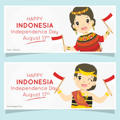 Indonesia independence day celebration banner design, cartoon vector. Toraja and Nusa Tenggara Timur girls holding Indonesian flags. Printable banner vector