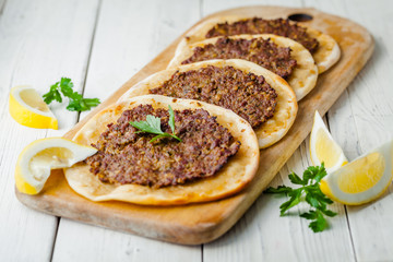 Lahmacun Lahmajoun Lahmajo Lahmajoon - Armenian meat pie / Armenian Pizza / Armenian Flat Bread with minced meat