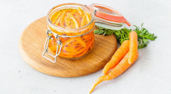 Fermented preserved vegetables in jar. Copyspace