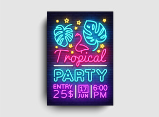 Tropical party poster neon vector. Summer party design template, bright neon brochure, modern trend design, light banner, typography invitation to the party, advertising postcard. Vector illustration