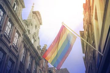Rainbow flag of the LGBT community on the building