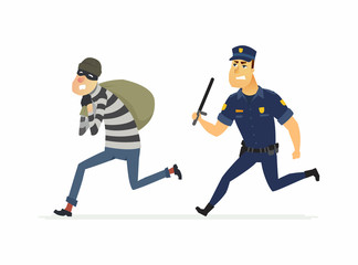 Thief and policeman - cartoon people characters illustration