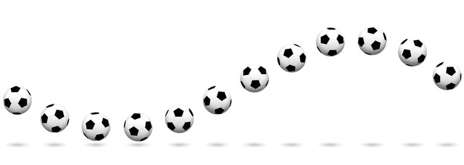 Soccer ball wave. Seamless extendable vector illustration on white background.