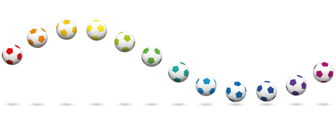 Colored soccer ball wave. Seamless extendable vector illustration on white background.