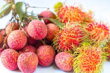 Fresh Rambutan and  Lychee on white background.Seasonal Fruit of Thailand.