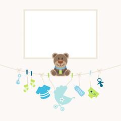 Teddy Baby Symbols Boy Frame Beige Dots