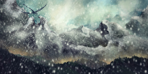 Wide environment, fantasy scenery with a flying dragon during a snowstorm- Digital Painting