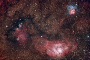 Nebulosa Laguna M8 e Trifida M20 nella costellazione del Sagittario