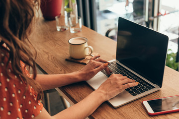 cropped shot of blogger working on laptop in coffee shop