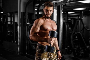 Muscular man with dumbbells in gym. Concept workout motivation