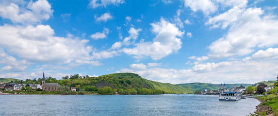 View to river Rhine near Boppard city, Famous popular Wine Village of Boppard at Rhine River, middle Rhine Valley, Germany. Rhine Valley is UNESCO World Heritage Site