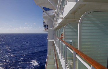 Enjoying the view from a cruise ship