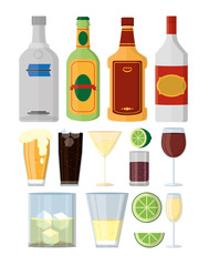 Set of alcohol drinks