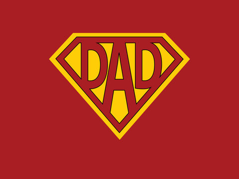 Super dad - Father's day concept . Greeting card design background. Vector illustration
