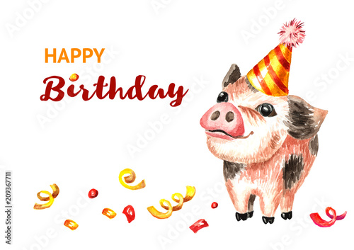 Happy Birthday Card Little Cute Funny Teacup Mini Pig In The Cap Watercolor