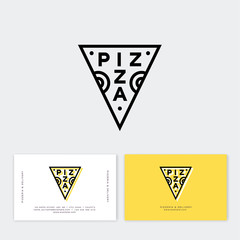 Pizza logo. Traditional pizza style. Simple linear stamp style. Geometry style. Pizzeria logo and business card. Italian traditional food emblem.