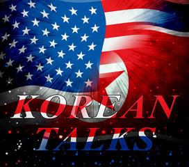 North Korea Denuclearization Talks With Usa 3d Illustration