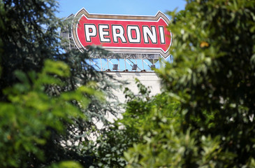 A sign of the Birra Peroni beer factory is seen in Rome