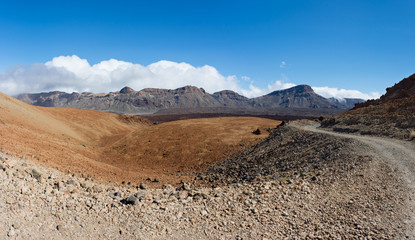 Footpath to the Altavista Refuge on Teide Volcano. Parque Nacional del Teide, Tenerife, Canary Islands