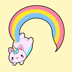 Illustration of a cute fat pink cat with a horn and a long rainbow tail. This kawaii hybrid between feline and unicorn is full of happiness and is try to distribute equal love for all. Cattycorn.