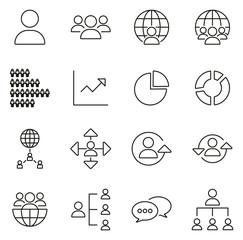 World Population Icons Thin Line Vector Illustration Set