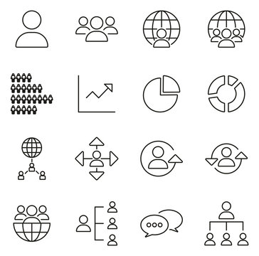 World Population Icons Thin Line Vector Illustration Set