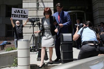 Manafort's wife departs after his arraignment on charges of witness tampering, at U.S. District Court in Washington