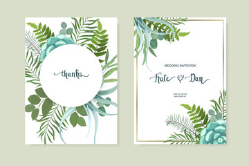 Floral set with eucalyptus, fern, greenery and succulent. Wedding Invitation, save the date, rsvp, invite card. Vector illustration. Celebration template. Watercolor style