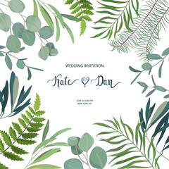 Greenery floral card. Frame border background. Summer vector illustration.  Watercolor style