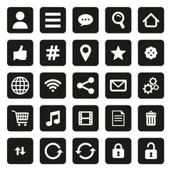 Toolbar Or Menu Icons White On Black
