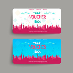 Vector set of gift travel voucher. Template for a festive gift card, coupon and certificate. Discount Coupon Template. Vector Illustration EPS10
