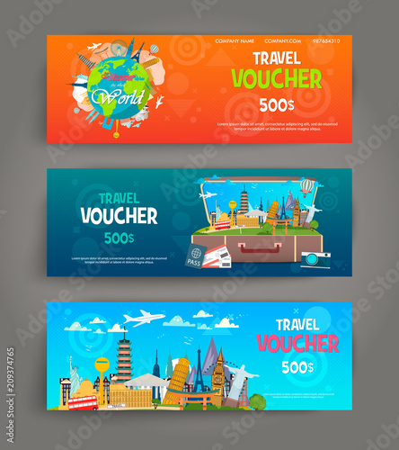 vector set of gift travel voucher template for a festive gift card coupon and