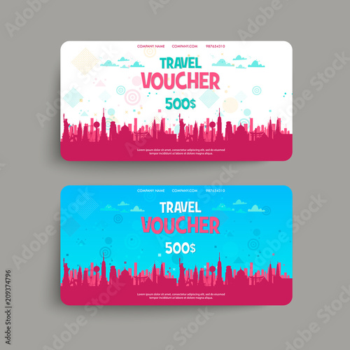 Vector Set Of Gift Travel Voucher Template For A Festive Card Coupon And