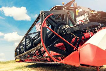 combine harvester draper head closeup