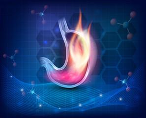 Stomach burning on a dark blue scientific background