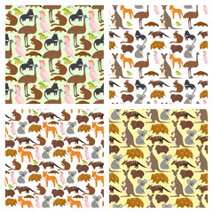 Australia wild animals cartoon popular nature characters seamless pattern background flat style mammal collection vector illustration.