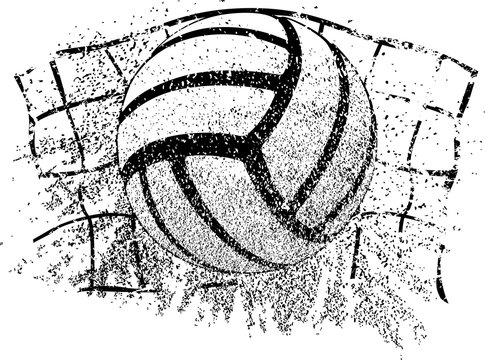 Sand Volleyball Grunge Ball and Net