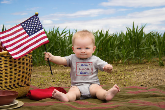 Make America Great Baby with Patriotic Flag