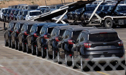 Cars are pictured at the Ford factory in Almussafes near Valencia