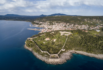 Aerial view of Pylos town and castle in the southern Greece