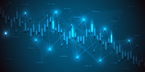 Business candle stick graph chart of stock market investment trading on blue background design. Vector illustration.