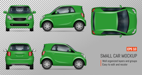 Compact car vector mockup on transparent background for vehicle branding, corporate identity. View from left, right, front, back, and top sides.