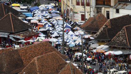 A street market is seen in the centre of Madagascar's capital city Antananarivo