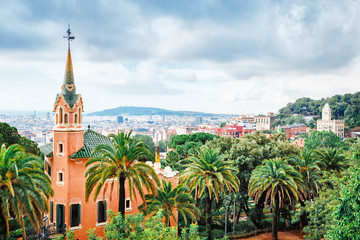 Barcelona landmarks, Spain. House where lived famous and outstanding architect Antonio Gaudi placed in park Guell park in Barcelona, Spain. Extremely popular travel destination in Barcelona, Europe.
