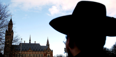 RABBIS STAGE AN ALTERNATIVE PROTEST IN FRONT OF THE INTERNATIONAL COURT IN THE HAGUE.