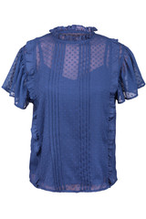 Elegant blouse with frills, isolated on white